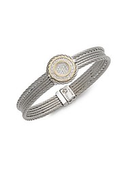 Alor Diamond 18K Gold And Stainless Steel Cable Bangle