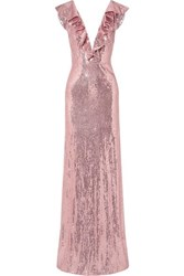 Monique Lhuillier Ruffled Sequined Crepe Gown Pink