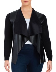 Michael Michael Kors Plus Mixed Media Leatherette Cardigan Black
