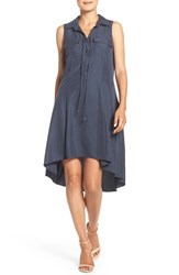 Eci Women's Lace Up Neck High Low Shirtdress Navy