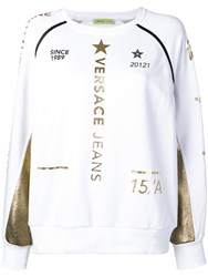 Versace Jeans Gold Tone Printed Jumper White