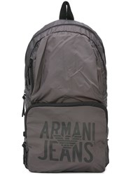 Armani Jeans Logo Print Backpack Grey