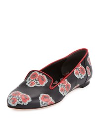 Alexander Mcqueen Flower Print Leather Loafer Black Crimson Black Multi Crims