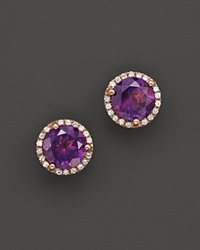 Bloomingdale's Amethyst And Diamond Halo Stud Earrings In 14K Rose Gold Purple Rose
