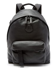 Moncler Logo Patch Leather Backpack Black