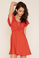 Forever 21 Ruffled Lace Up Dress