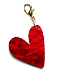 Edie Parker Heart Bag Charm Red Red Pattern