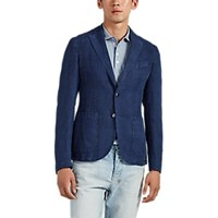 Barneys New York Slub Linen Two Button Sportcoat Blue