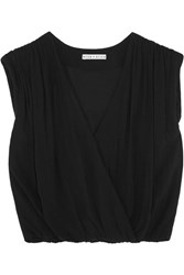 Alice Olivia Dania Wrap Effect Crepe Top Black