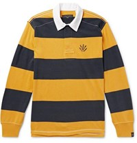 Rag And Bone Logo Embroidered Twill Trimmed Striped Cotton Jersey Polo Shirt Yellow