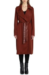 Badgley Mischka Faux Leather Trim Long Trench Coat Sahara