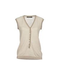 Madame A Paris Sleeveless Sweaters Beige