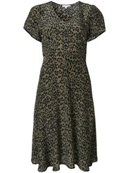 Lily And Lionel Tied Leopard Print Dress Green