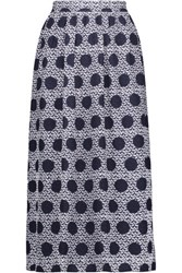 Mother Of Pearl Romily Printed Silk Satin Midi Skirt Navy
