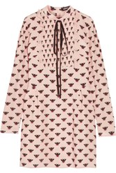 Markus Lupfer Flying Bumble Printed Silk Crepe De Chine Mini Dress Blush