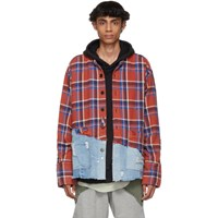 Greg Lauren Red And Blue 50 50 Plaid Denim Shirt Red Blue