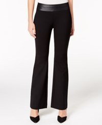 Alfani Petite Faux Leather Trim Pull On Trousers Only At Macy's Deep Black