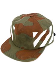 Off White Camouflage Print Cap Men Cotton One Size Nude Neutrals