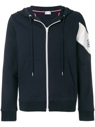 Moncler Gamme Bleu Patch Embellished Zip Up Hoodie Blue