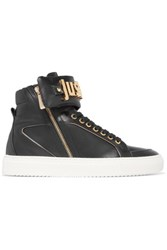 Just Cavalli Leather High Top Sneakers Black