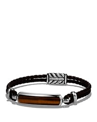 David Yurman Exotic Stone Station Brown Leather Bracelet With Tigers Eye Brown Silver