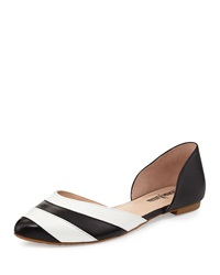 Neiman Marcus Veronica Striped Leather D'orsay Flat Black White