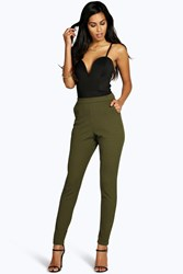Boohoo Crepe Super Stretch Skinny Trousers Khaki
