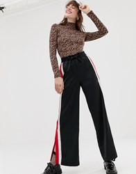 Monki Split Leg Side Stripe Trousers In Black
