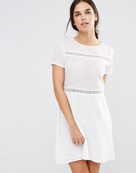 Daisy Street Smock Dress With Lace Inserts White