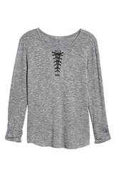 Wit And Wisdom Lace Up Top Heather Charcoal