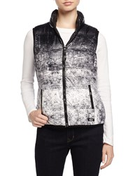 Marc New York Marc Ny Performance Packable Printed Puffer Vest W Hidden Hood Black Combo