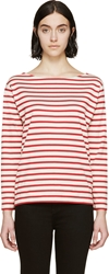 Saint Laurent Off White And Red Striped Breton Shirt