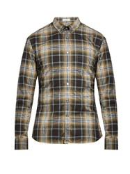 Tomas Maier Long Sleeved Checked Cotton Shirt Beige Multi