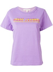 Marc Jacobs Logo Print Graphic T Shirt Pink Purple