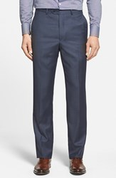 Men's Big And Tall Santorelli Flat Front Wool Trousers Medium Blue