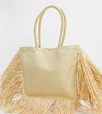 South Beach Exclusive Straw Tote Bag With Fringed Edge In Natural Beige
