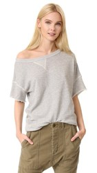 R 13 R13 Off Shoulder Sweatshirt Heather Grey