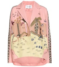 Valentino Embroidered Nappa Leather Jacket Pink