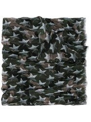 Valentino Star Print Camouflage Scarf Green