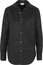 Current Elliott The Prep School Coated Stretch Cotton Shirt Black