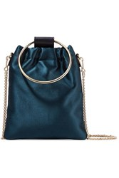 Theory Post Small Leather Trimmed Satin Shoulder Bag Navy