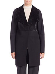 Elie Tahari Aviva Calf Hair And Fur Topper Black