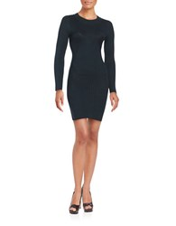 Design Lab Lord And Taylor Ribbed Knit Sweater Dress Dark Green