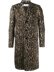Saint Laurent Leopard Print Coat Brown