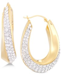 Signature Gold Swarovski Crystal Hoop Earrings In 14K Over Resin Created For Macy's Gold