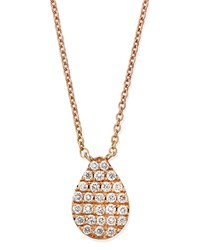Rose Gold White Diamond Teardrop Necklace Diane Kordas Pink