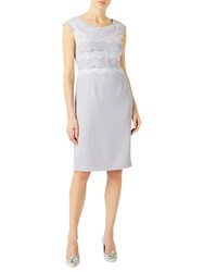 Jacques Vert Scallop Layered Lace Dress Grey