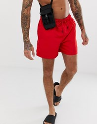 Jack And Jones Intelligence Swim Shorts With Contrast Lining Red