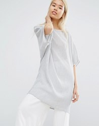 Native Youth Oversized Longline Top In Crinkle Fabric Grey