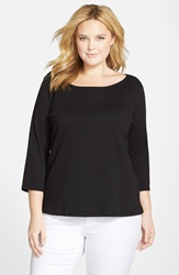 Eileen Fisher Organic Cotton Ballet Neck Top Plus Size Black